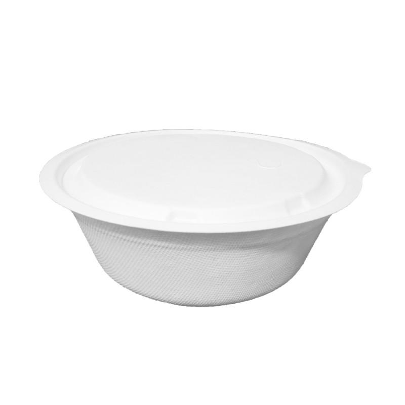 Bowl 950ml c/tampa Bagaço de cana cx 600 und